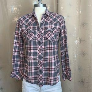 True Religion pink plaid button down shirt EUC